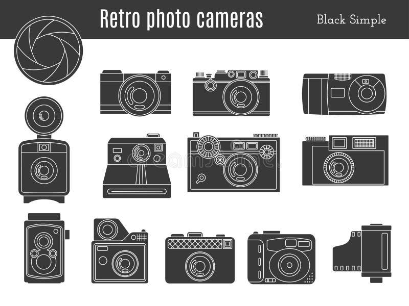 Παλαιό αναδρομικό σύνολο καμερών φωτογραφιών διανυσματική απεικόνιση