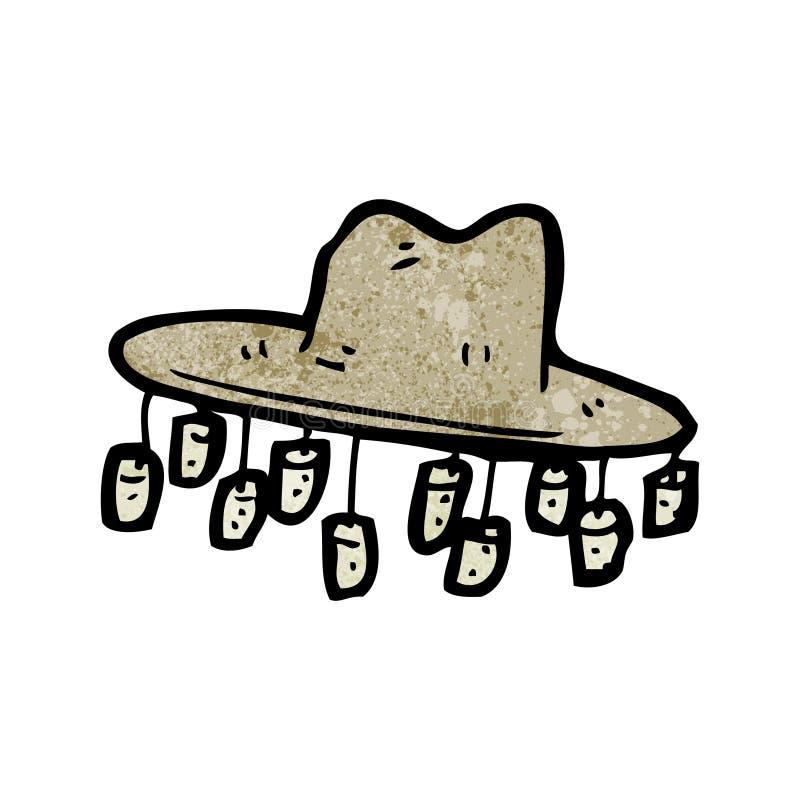 παλαιό αυστραλιανό καπέλο κινούμενων σχεδίων διανυσματική απεικόνιση