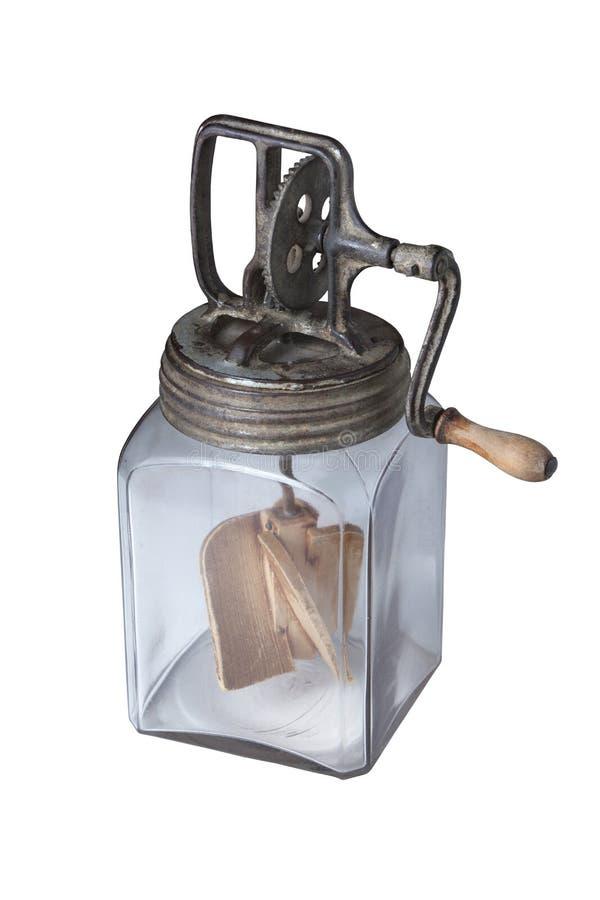 Παλαιό βουτύρου καρδάρι που απομονώνεται στο λευκό στοκ εικόνες