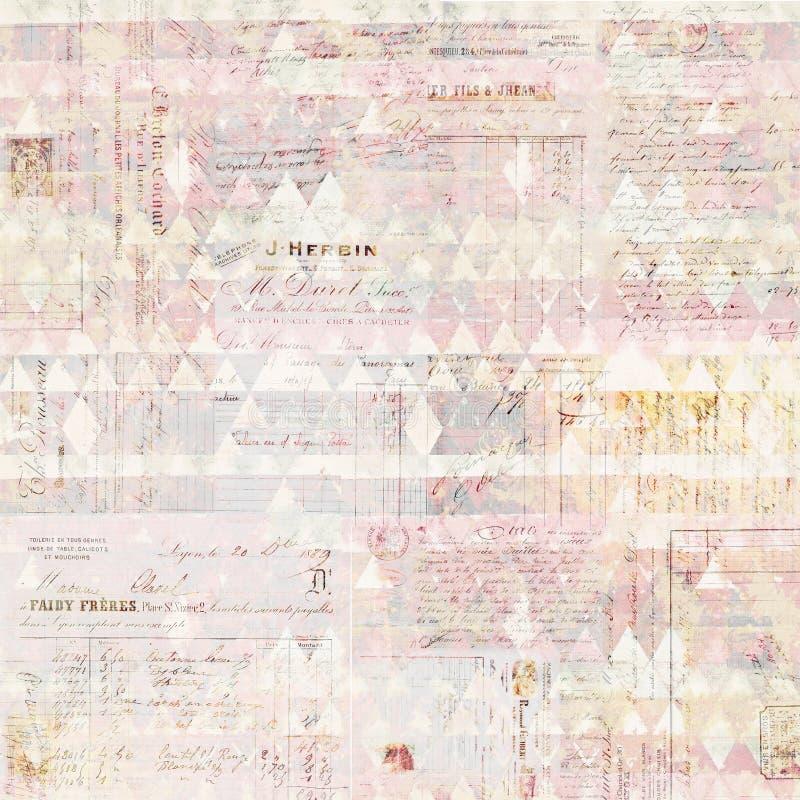 Παλαιό βρώμικο γαλλικό υπόβαθρο κολάζ τιμολογίων στα χρώματα κρητιδογραφιών στοκ φωτογραφίες
