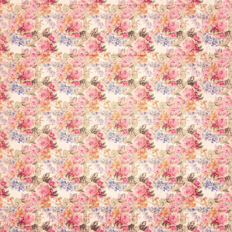 Παλαιό βρώμικο εκλεκτής ποιότητας υπόβαθρο τριαντάφυλλων ύφους βοτανικό ρόδινο floral στο ξύλο διανυσματική απεικόνιση