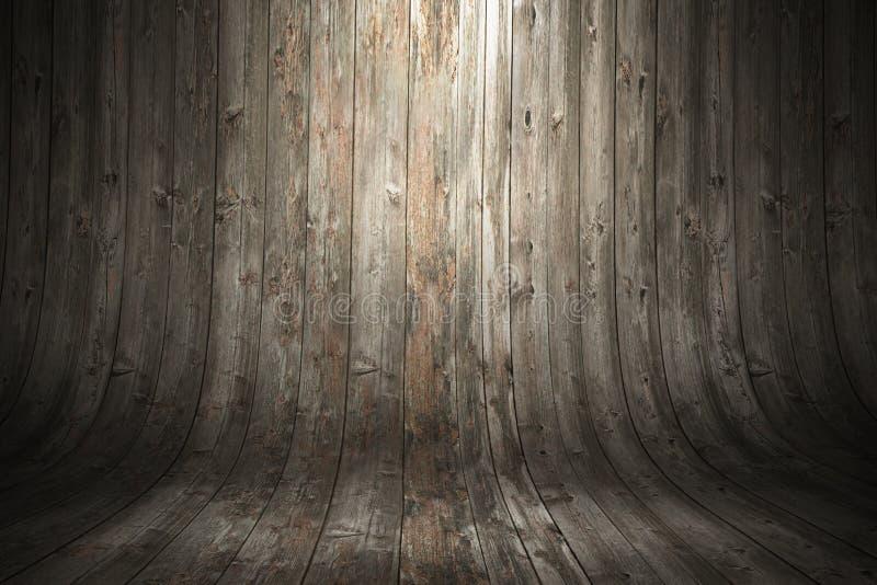 Παλαιό βρώμικο κυρτό ξύλινο υπόβαθρο τρισδιάστατη να επιμεληθεί ψαλιδίσματος εύκολη απόδοση μονοπατιών αρχείων συμπεριλαμβανόμενη στοκ εικόνες