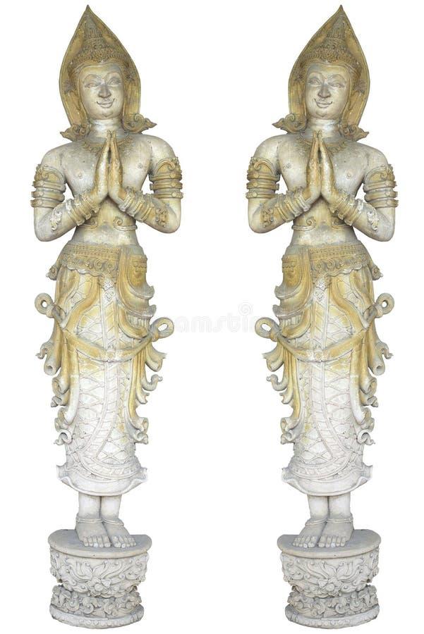 Παλαιό γλυπτό αγγέλων ζευγαριού στο άσπρο υπόβαθρο στοκ φωτογραφία με δικαίωμα ελεύθερης χρήσης
