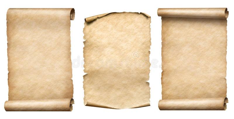 Παλαιό εγγράφου σύνολο απεικόνισης κυλίνδρων ή parchments realistc τρισδιάστατο στοκ φωτογραφίες με δικαίωμα ελεύθερης χρήσης