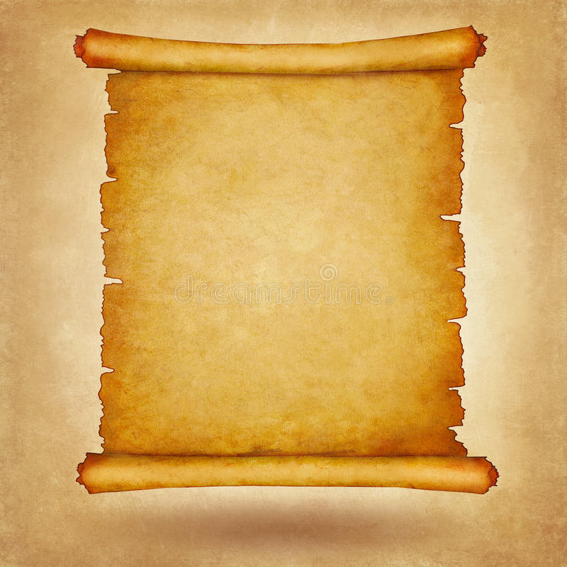 Παλαιό εκλεκτής ποιότητας έγγραφο κυλίνδρων με το διάστημα για το κείμενο ή την εικόνα διανυσματική απεικόνιση