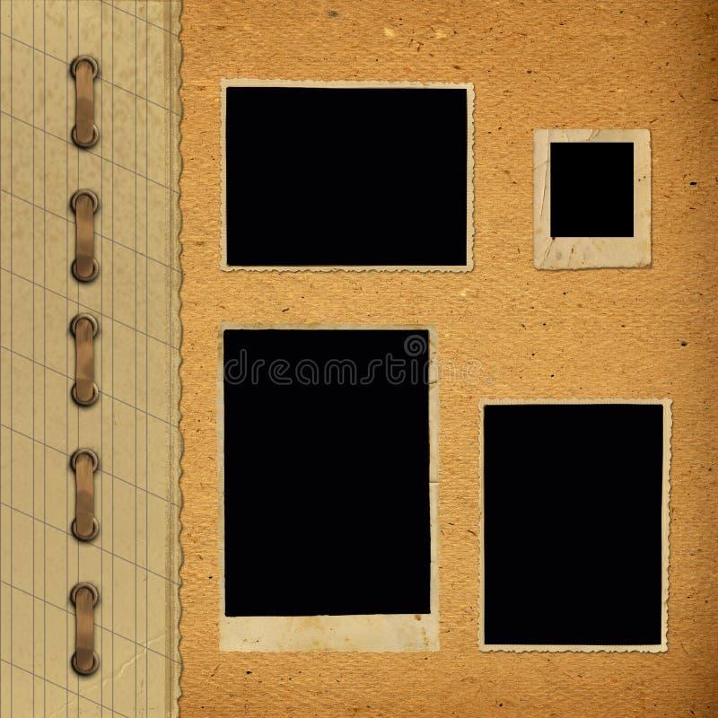 Παλαιό εκλεκτής ποιότητας λεύκωμα με τα πλαίσια εγγράφου στοκ φωτογραφία
