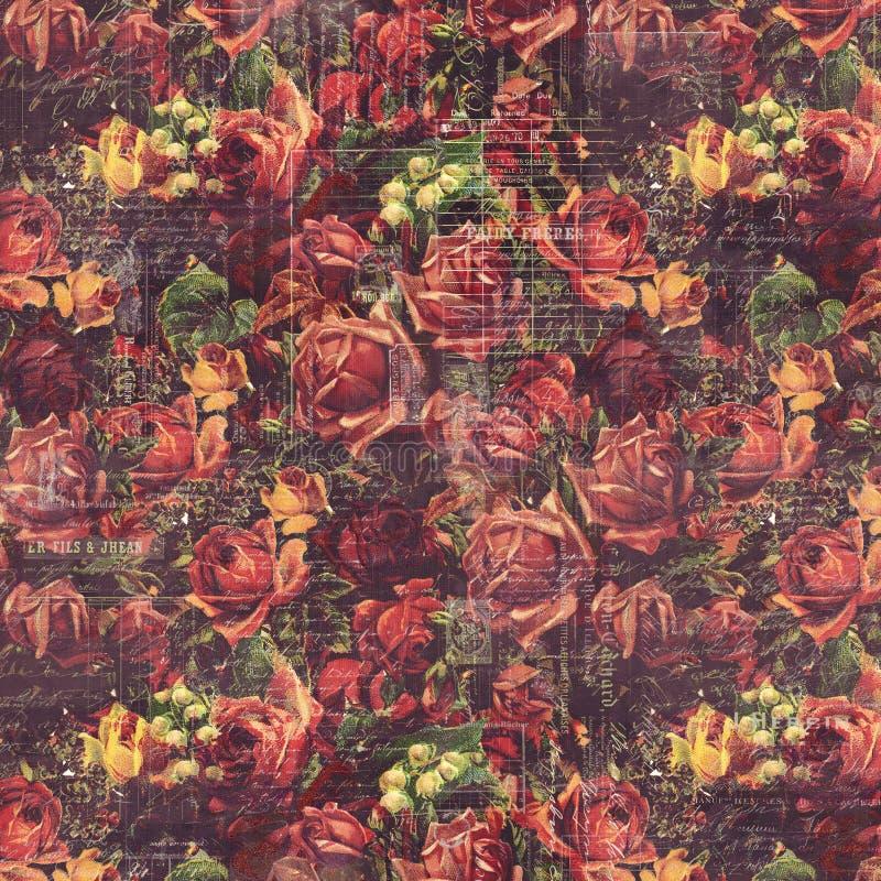 Παλαιό εκλεκτής ποιότητας διαμορφωμένο τριαντάφυλλα υπόβαθρο στα αγροτικά χρώματα πτώσης στοκ εικόνα