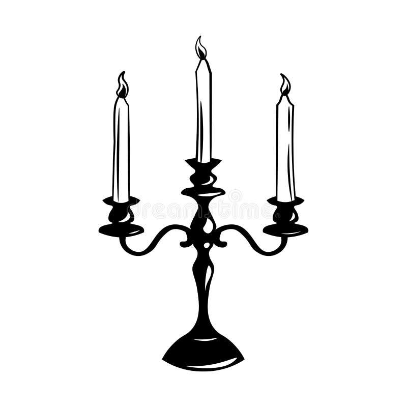 Παλαιό εκλεκτής ποιότητας κηροπήγιο με τα κεριά ανασκόπηση που ψαλιδίζει το απομονωμένο λευκό μονοπατιών αντικειμένου επίσης core ελεύθερη απεικόνιση δικαιώματος