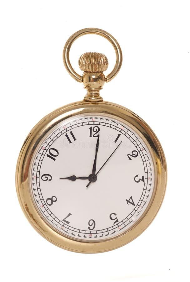 παλαιό επίπεδο χρυσό γραφικό ρολόι όψης τσεπών στοκ εικόνες με δικαίωμα ελεύθερης χρήσης