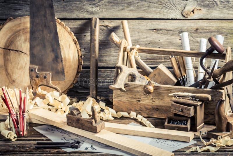 Παλαιό εργαστήριο ξυλουργικής στοκ εικόνες
