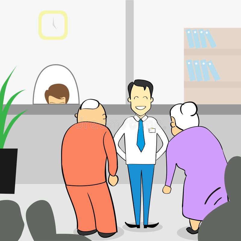 Παλαιό ζεύγος στο γραφείο τράπεζας, ανώτερη γυναίκα ανδρών με το βοηθητικό διευθυντή διανυσματική απεικόνιση