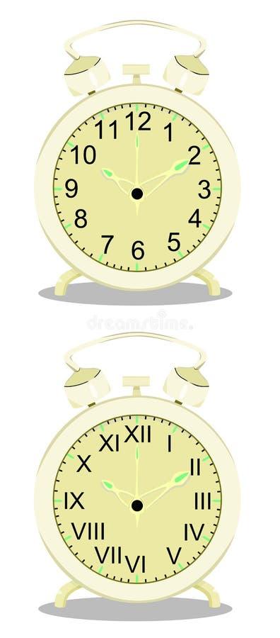 Παλαιό διάνυσμα ξυπνητηριών απεικόνιση αποθεμάτων