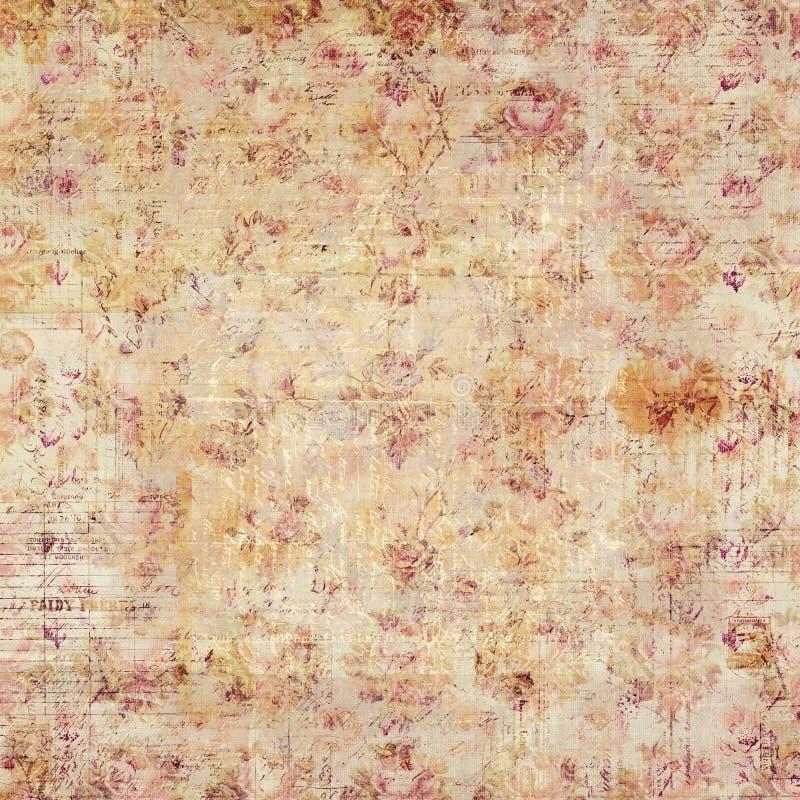 Παλαιό καφετί αγροτικό βρώμικο χειρόγραφο και floral υπόβαθρο στοκ φωτογραφίες με δικαίωμα ελεύθερης χρήσης