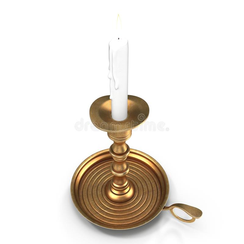 Παλαιό κηροπήγιο το κερί που απομονώνεται με στο λευκό τρισδιάστατη απεικόνιση διανυσματική απεικόνιση