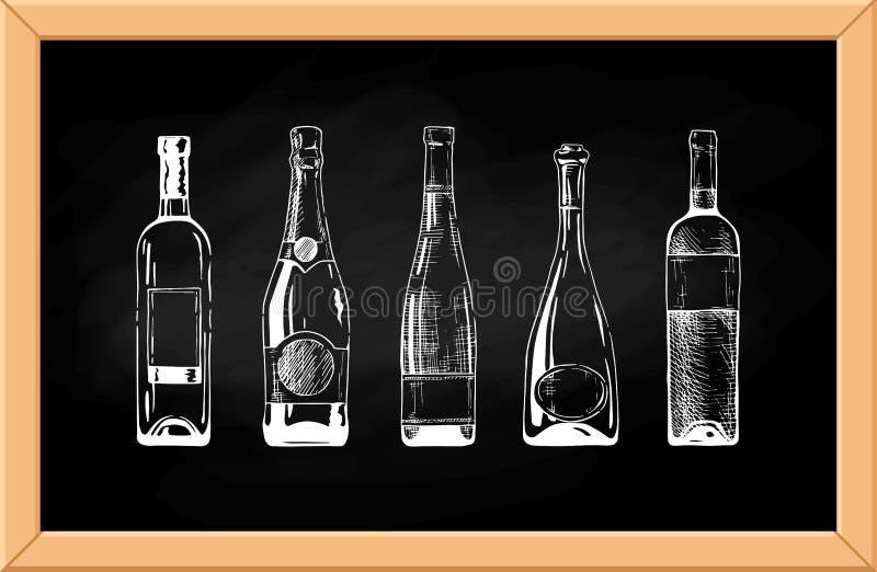 παλαιό κρασί ραφιών μπουκαλιών απεικόνιση αποθεμάτων
