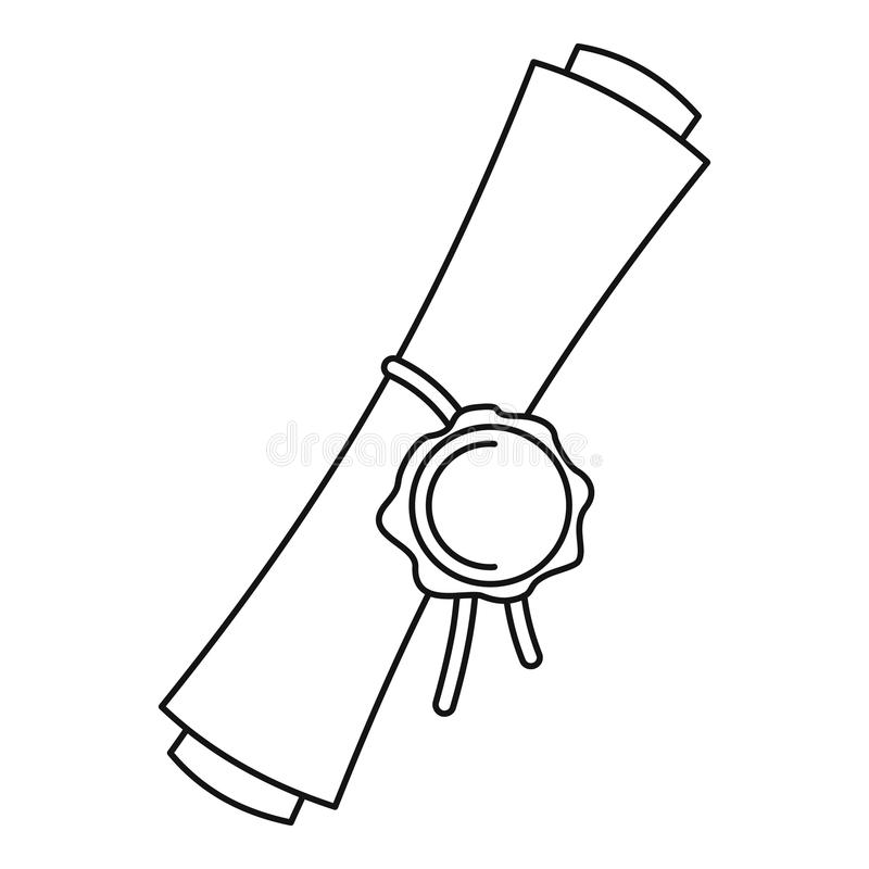 Παλαιό κυλημένο έγγραφο με μια κόκκινη περίληψη εικονιδίων σφραγίδων κεριών διανυσματική απεικόνιση