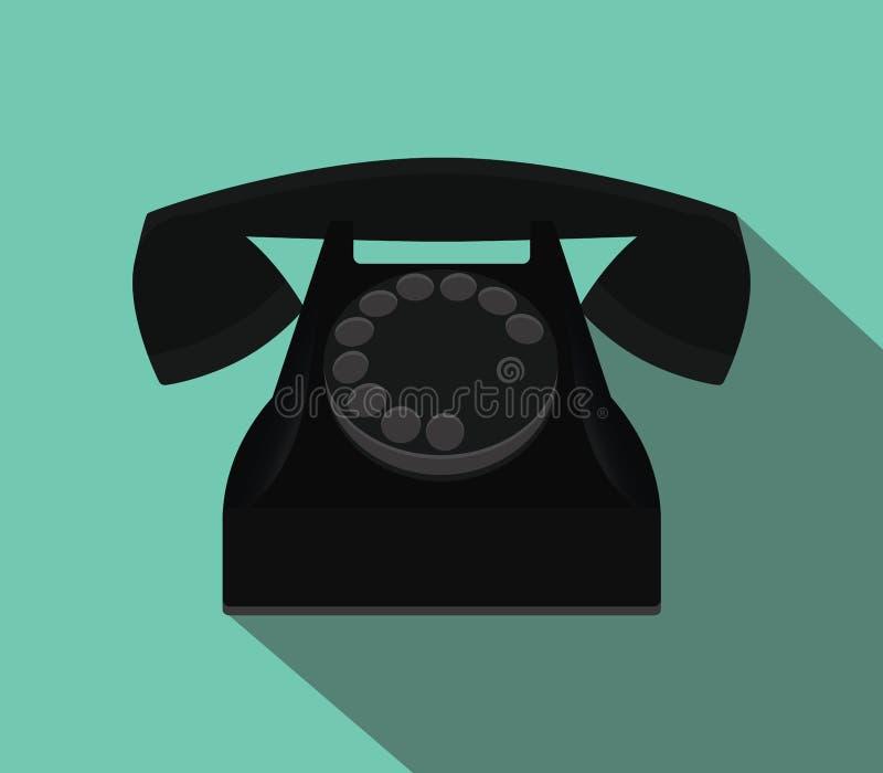 Παλαιό μαύρο τηλέφωνο με το επίπεδο ύφος και τη μακροχρόνια σκιά απεικόνιση αποθεμάτων