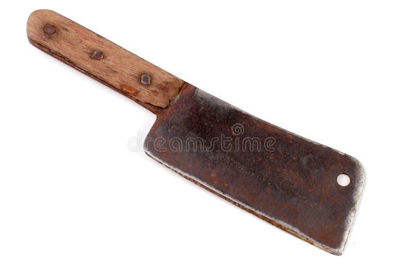 Παλαιό μπαλτάς ή μαχαίρι κρέατος που απομονώνεται στο άσπρο υπόβαθρο στοκ εικόνες