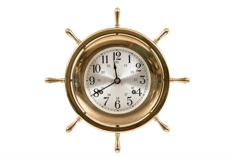 Παλαιό ναυτικό ρολόι που απομονώνεται στο λευκό στοκ φωτογραφία με δικαίωμα ελεύθερης χρήσης