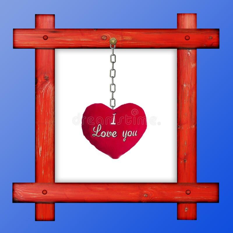 Παλαιό ξύλινο κόκκινο πλαίσιο σε ένα μπλε κλίμα με το κόκκινο μαλακό hea στοκ εικόνα με δικαίωμα ελεύθερης χρήσης
