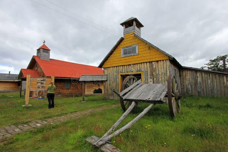 Παλαιό ξύλινο παρεκκλησι, μουσείο, βίλα Ο ` Higgins, Carretera νότιο, Χιλή στοκ φωτογραφίες
