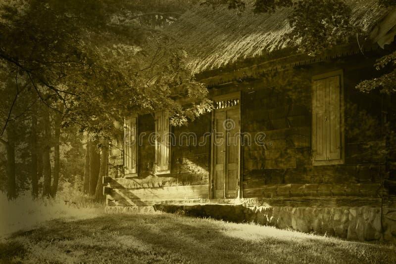 Παλαιό ξύλινο σπίτι στη σέπια στοκ εικόνες με δικαίωμα ελεύθερης χρήσης