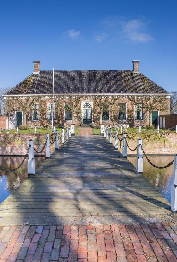 Παλαιό ολλανδικό μέγαρο Verhildersum κοντά σε Leens στοκ φωτογραφίες με δικαίωμα ελεύθερης χρήσης