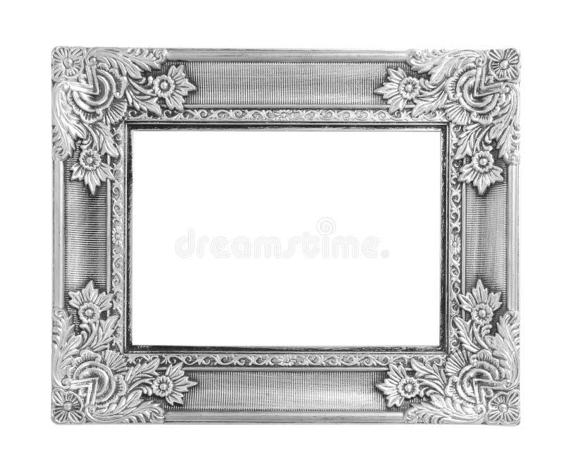 Παλαιό παλαιό ασημένιο πλαίσιο που απομονώνεται στο άσπρο υπόβαθρο στοκ φωτογραφία με δικαίωμα ελεύθερης χρήσης