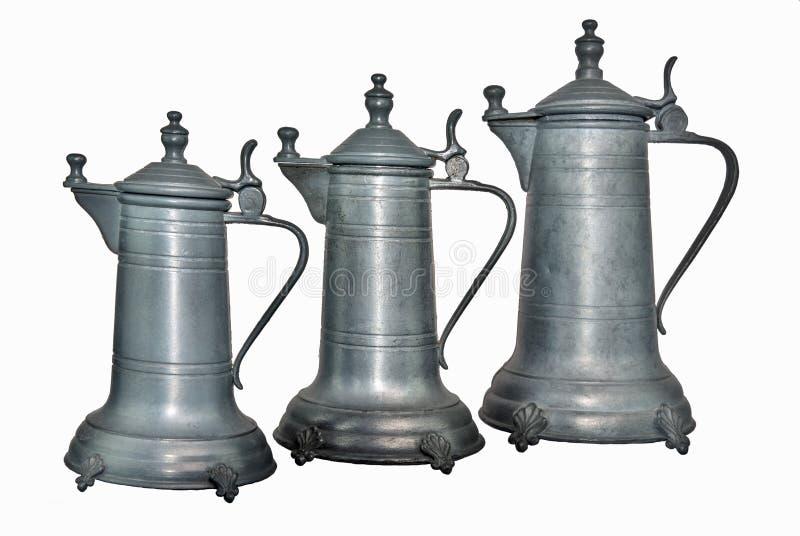 Παλαιό πηούτερ κανατών κρασιού τρία στοκ εικόνες