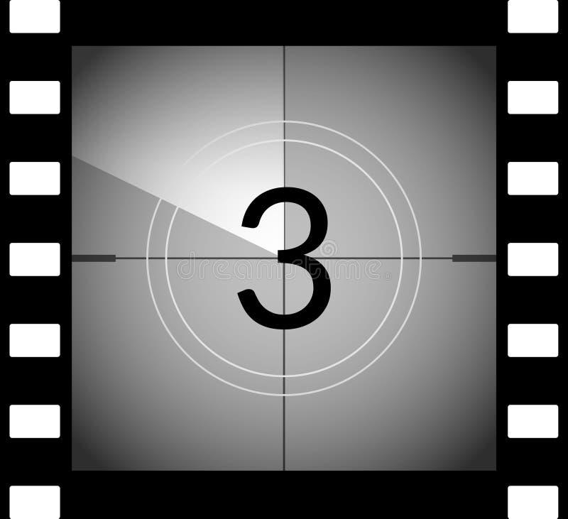 Παλαιό πλαίσιο αντίστροφης μέτρησης κινηματογράφων ταινιών Παλαιά εκλεκτής ποιότητας αναδρομική αρίθμηση χρονομέτρων κινηματογράφ διανυσματική απεικόνιση