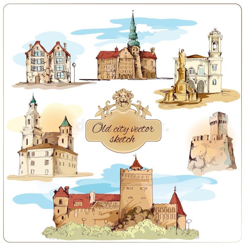 Παλαιό σκίτσο πόλεων που χρωματίζεται ελεύθερη απεικόνιση δικαιώματος