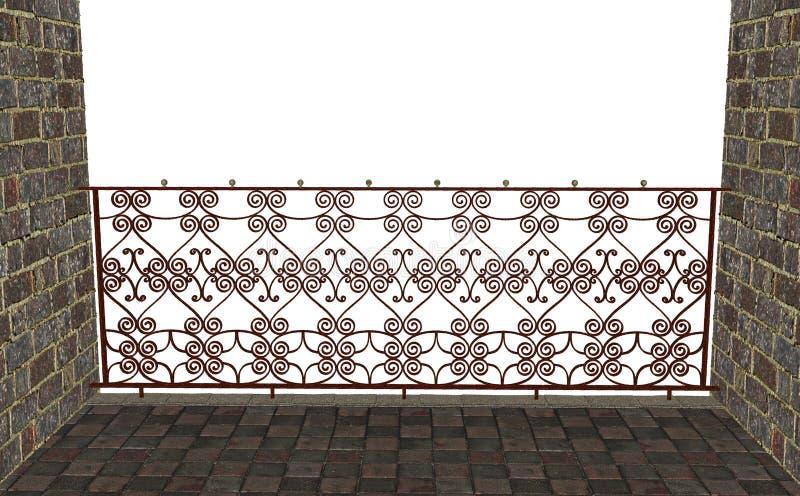 Παλαιό σκουριασμένο κιγκλίδωμα σε ένα μπαλκόνι, τρισδιάστατη απόδοση διανυσματική απεικόνιση