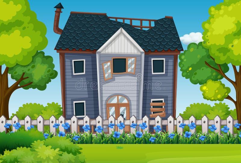 Παλαιό σπίτι με τον όμορφο κήπο απεικόνιση αποθεμάτων