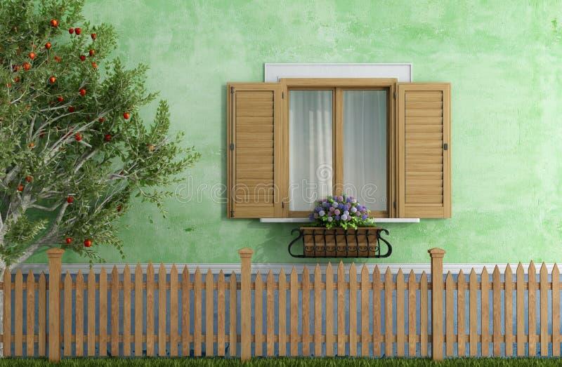 Παλαιό σπίτι με το ξύλινο δέντρο φρακτών και μηλιάς διανυσματική απεικόνιση