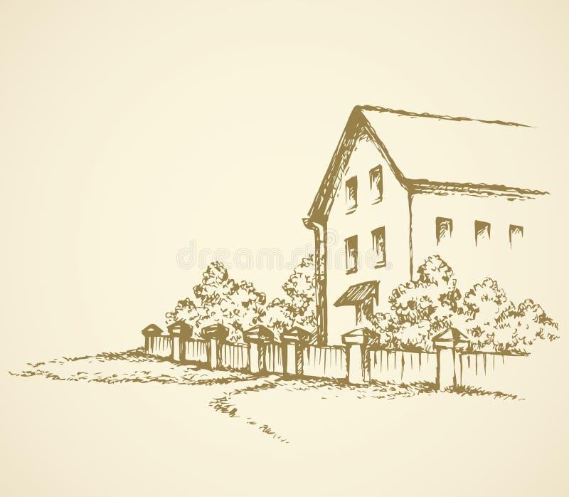 Παλαιό σπίτι πίσω από τη φραγή ανασκόπηση που σύρει το floral διάνυσμα χλόης ελεύθερη απεικόνιση δικαιώματος