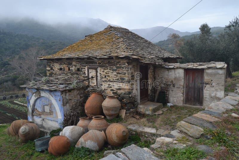 Παλαιό σπίτι στο υποστήριγμα Athos, Ελλάδα στοκ φωτογραφία με δικαίωμα ελεύθερης χρήσης