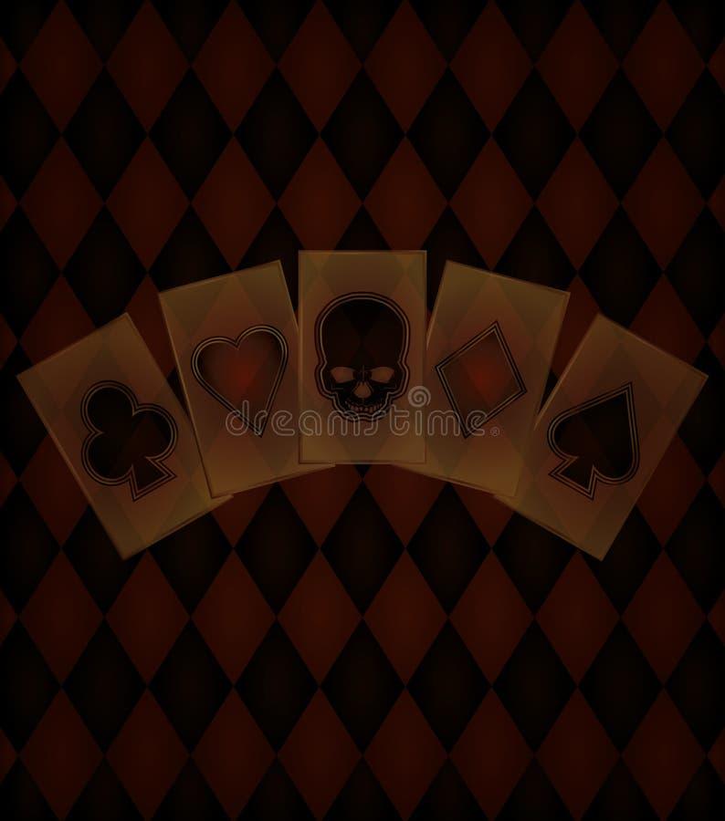 Παλαιό υπόβαθρο χαρτοπαικτικών λεσχών απεικόνιση αποθεμάτων