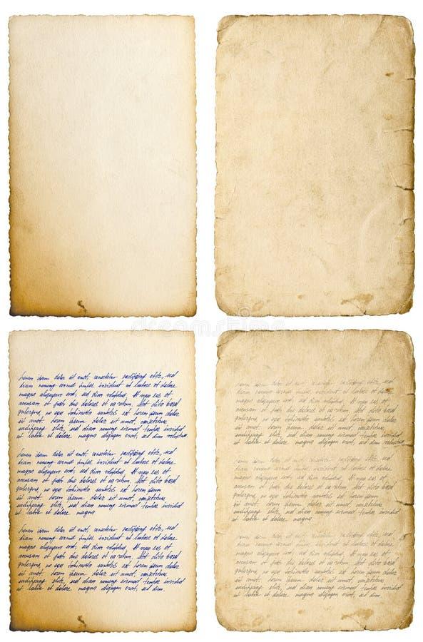 Παλαιό φύλλο εγγράφου με τη χειρόγραφη γραφή επιστολών ακρών στοκ εικόνες