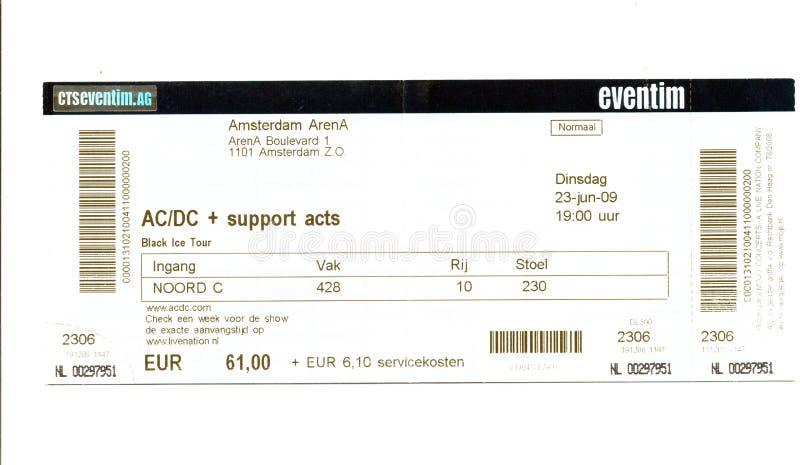Παλαιό χρησιμοποιημένο εισιτήριο για τη συναυλία στοκ φωτογραφίες με δικαίωμα ελεύθερης χρήσης
