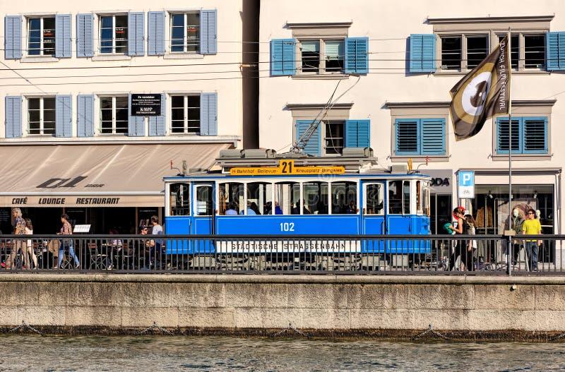Παλαιό χρονικό τραμ στη Ζυρίχη, Ελβετία στοκ φωτογραφία