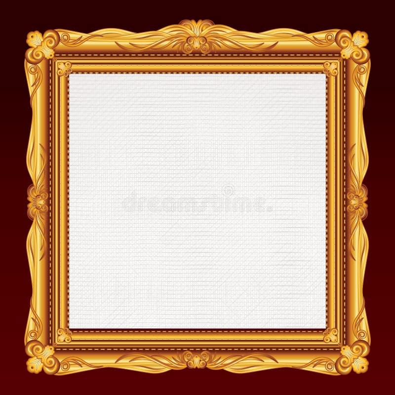 Παλαιό χρυσό πλαίσιο με τον κενό καμβά. στοκ εικόνες