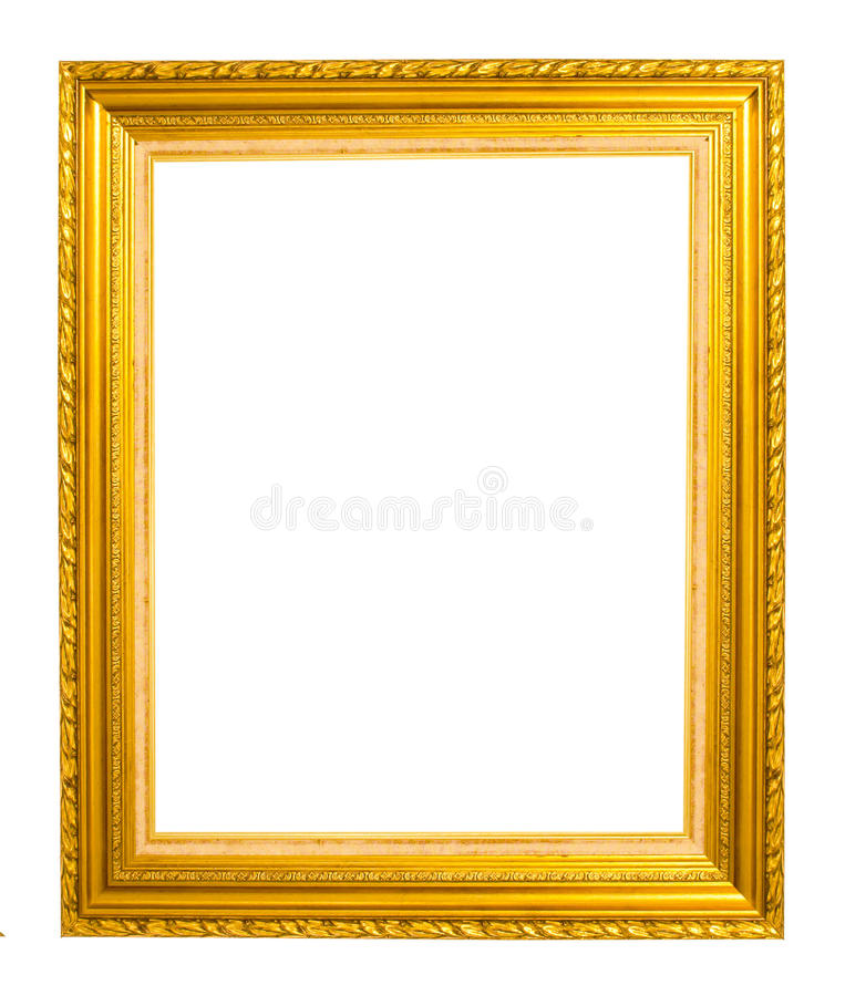 Παλαιό χρυσό πλαίσιο που απομονώνεται στο άσπρο υπόβαθρο στοκ φωτογραφία με δικαίωμα ελεύθερης χρήσης