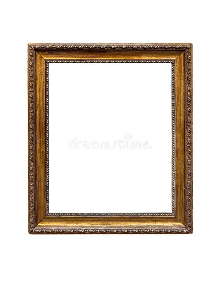 Παλαιό χρυσό πλαίσιο που απομονώνεται στο άσπρο υπόβαθρο στοκ φωτογραφίες με δικαίωμα ελεύθερης χρήσης