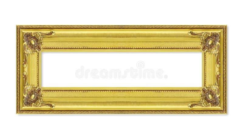 Παλαιό χρυσό πλαίσιο στο άσπρο υπόβαθρο στοκ εικόνα