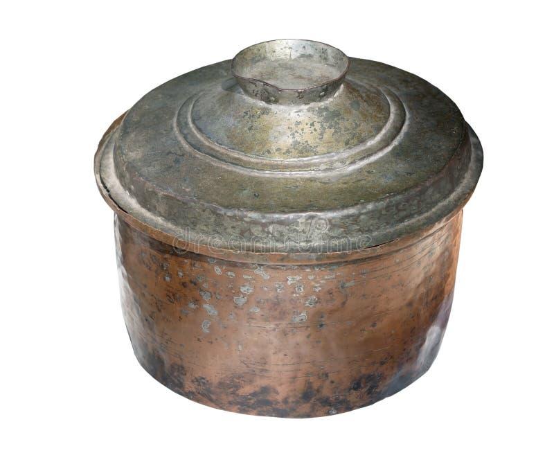 Παλαιό casserole πιάτο ή δοχείο αγγείων, που απομονώνεται στο λευκό στοκ φωτογραφία