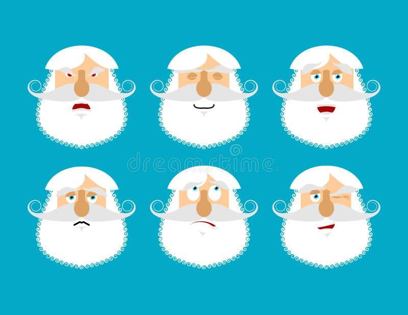 Παλαιό emoji ατόμων Σύνολο συγκίνησης Επιθετικό και καλό πρόσωπο παππούδων διανυσματική απεικόνιση
