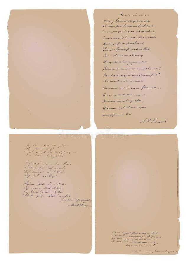 Παλαιό Papre με το χειρόγραφο υπόβαθρο κειμένων απεικόνιση αποθεμάτων