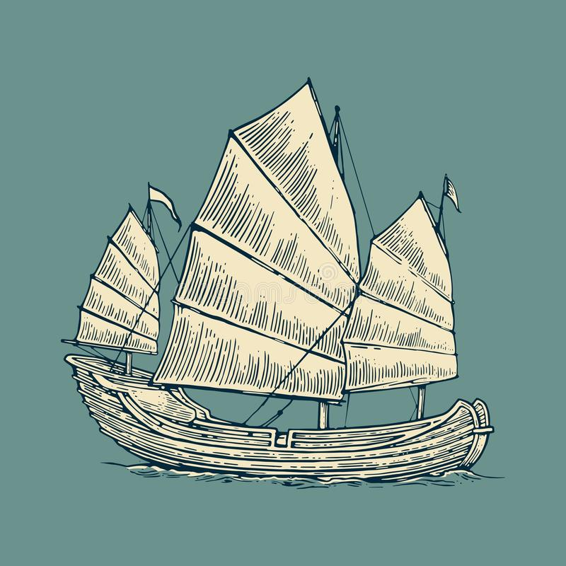 Παλιοπράγματα που επιπλέουν στα κύματα θάλασσας Συρμένο χέρι πλέοντας σκάφος στοιχείων σχεδίου ελεύθερη απεικόνιση δικαιώματος