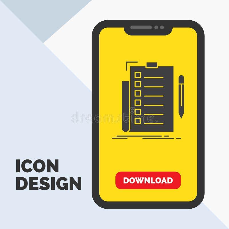 πείρα, πίνακας ελέγχου, έλεγχος, κατάλογος, έγγραφο εικονίδιο Glyph σε κινητό για Download τη σελίδα r διανυσματική απεικόνιση