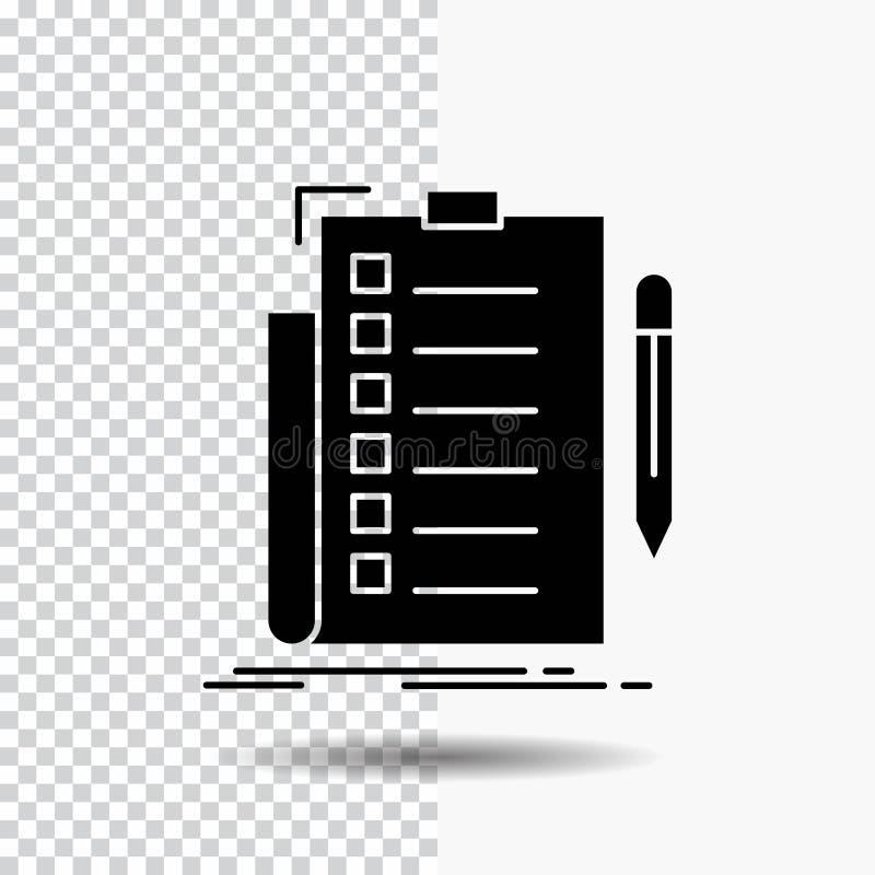 πείρα, πίνακας ελέγχου, έλεγχος, κατάλογος, έγγραφο εικονίδιο Glyph στο διαφανές υπόβαθρο r απεικόνιση αποθεμάτων